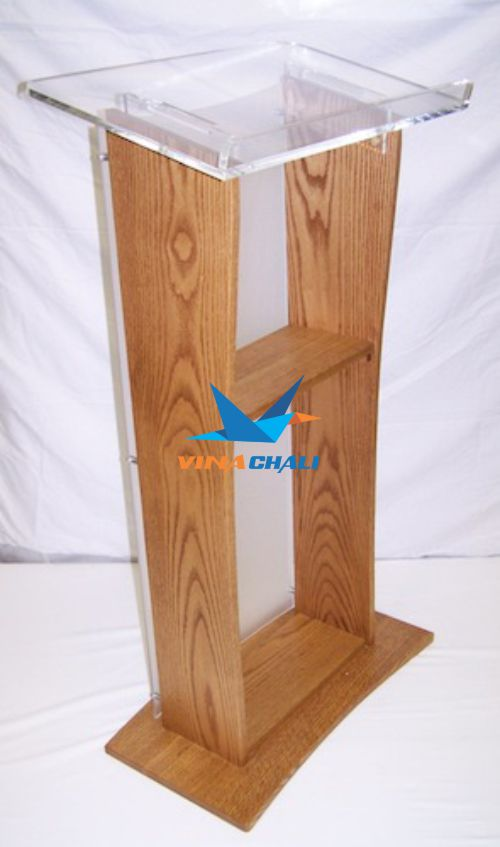 bục phát biểu mica kết hợp gỗ đẹp