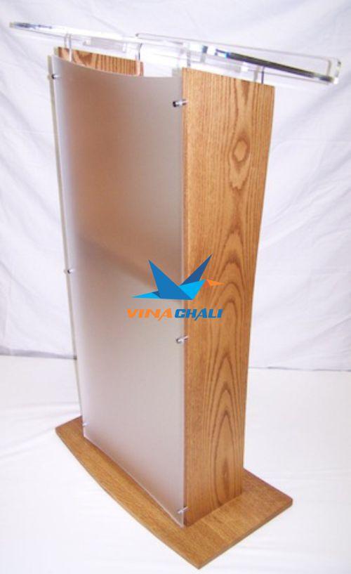 bục phát biểu mica kết hợp gỗ
