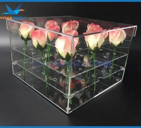 Hộp mica đựng hoa hồng 3
